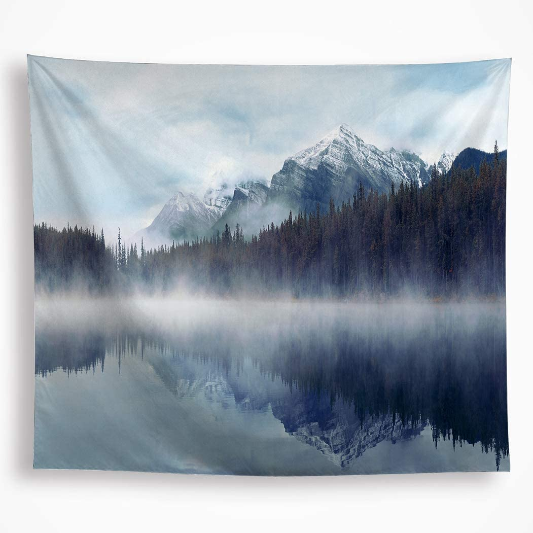 """Misty Mountain Tapestry Wall Hanging Fog Forest Shadow in the Lake Snowy Mountain Nature Scene Fabric Wall Decor Art 51""""x59"""" Decorative for Livingroom Bedroom Dorm"""