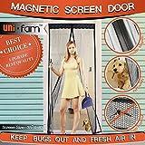 Magnetic Screen Door, Full Frame Velcro. Fits Door Openings up to 35