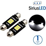 "SiriusLED Extremely Bright 400 Lumens 3020 Chipset Canbus Error Free LED Bulbs for Interior Car Lights License Plate Dome Trunk Courtesy 1.72"" 41MM 42MM Festoon 211-2 569 578 6000K Xenon White"