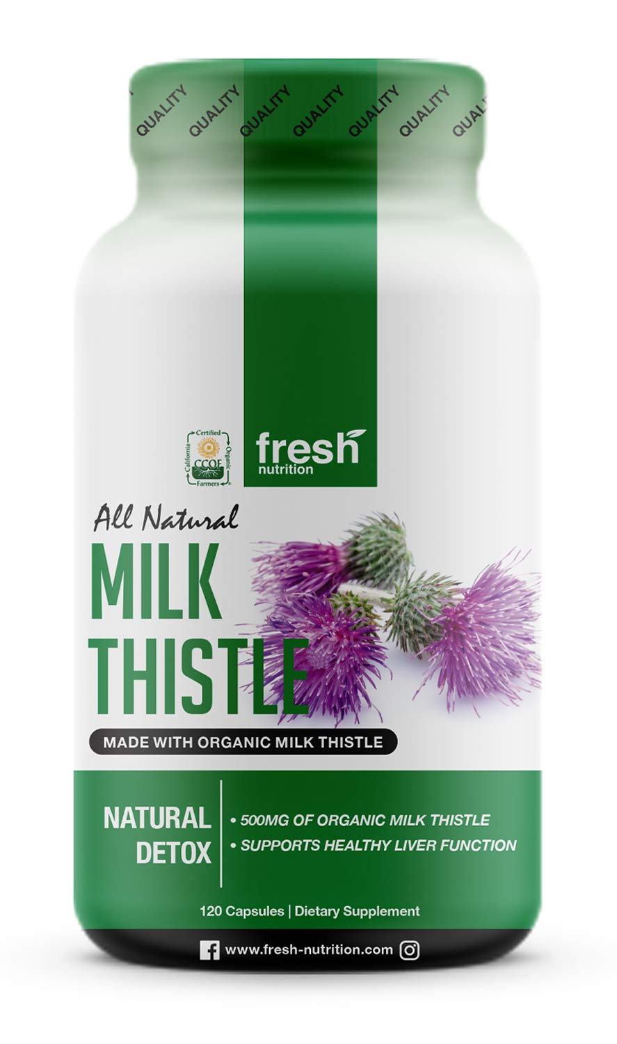 Milk Thistle Organic - 120 Servings of 2000mg - Strong - 4 Month Supply - CCOF Organic - Silymarin Thisilyn Seed Standardized Extract 4:1 Capsules - Great for Liver Cleanse - USA by Fresh Nutrition