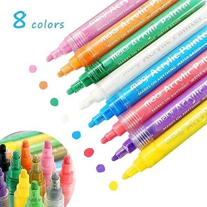 Amazon Com Aolvo Acrylic Paint Pens 8 Colors Fabric