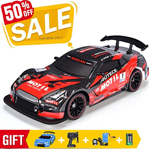 Rc Drift Racing Car - RC Car Electric Racing Drift Car 1/14 2.4Ghz Radio Remote 25Km/h Controlled RTR Truck For Kids Adults Gifts 4WD High Speed Racer Car with 7.4V Battery and One Extra Rechangeble Car Shell