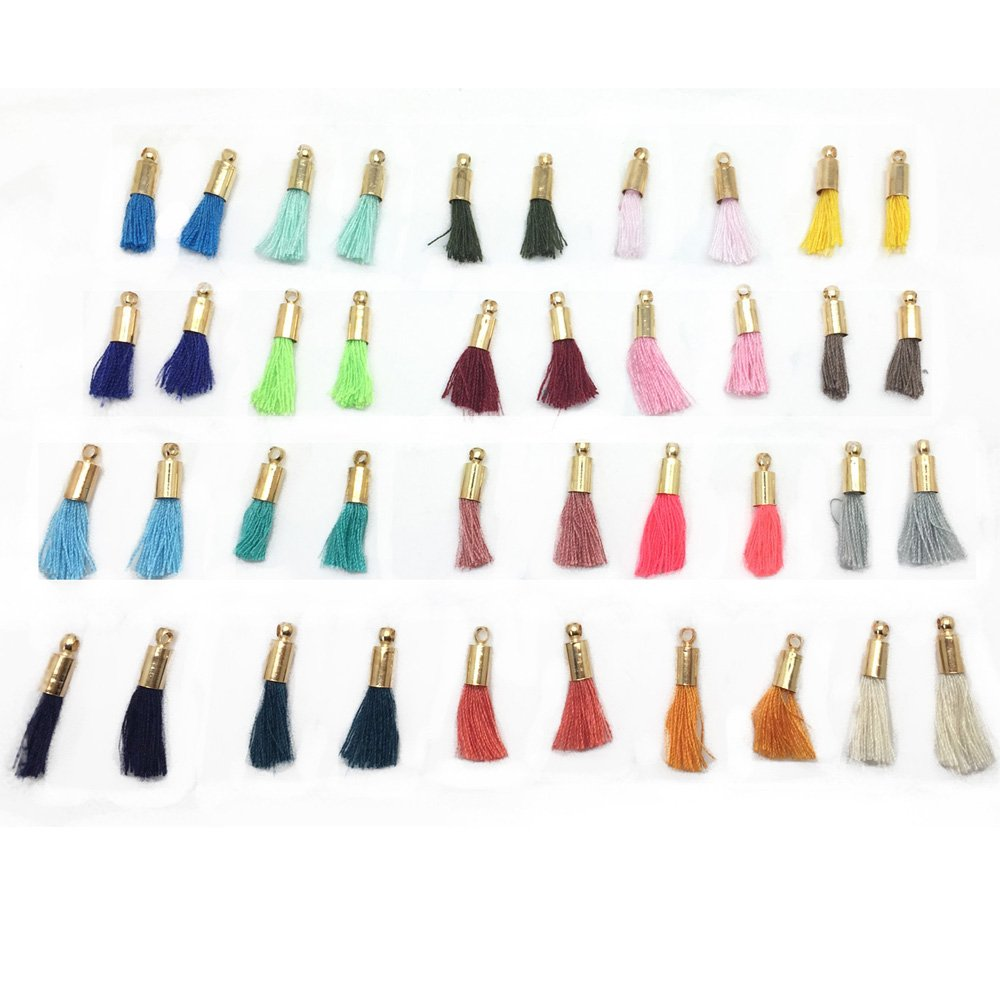 Wholesale Muliti-Colored Mini Tassels Tiny Short Cotton Thread Tassels with Gold Cops 50pcs/lot 14mm(1/2'') GD20ST19X by Pamir Tong