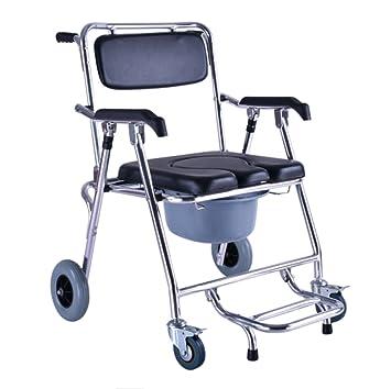 GZHYZ Polea bacinica aseo ancianos en silla de ruedas de aluminio soporte de retrete móvil orinal plegable: Amazon.es: Deportes y aire libre
