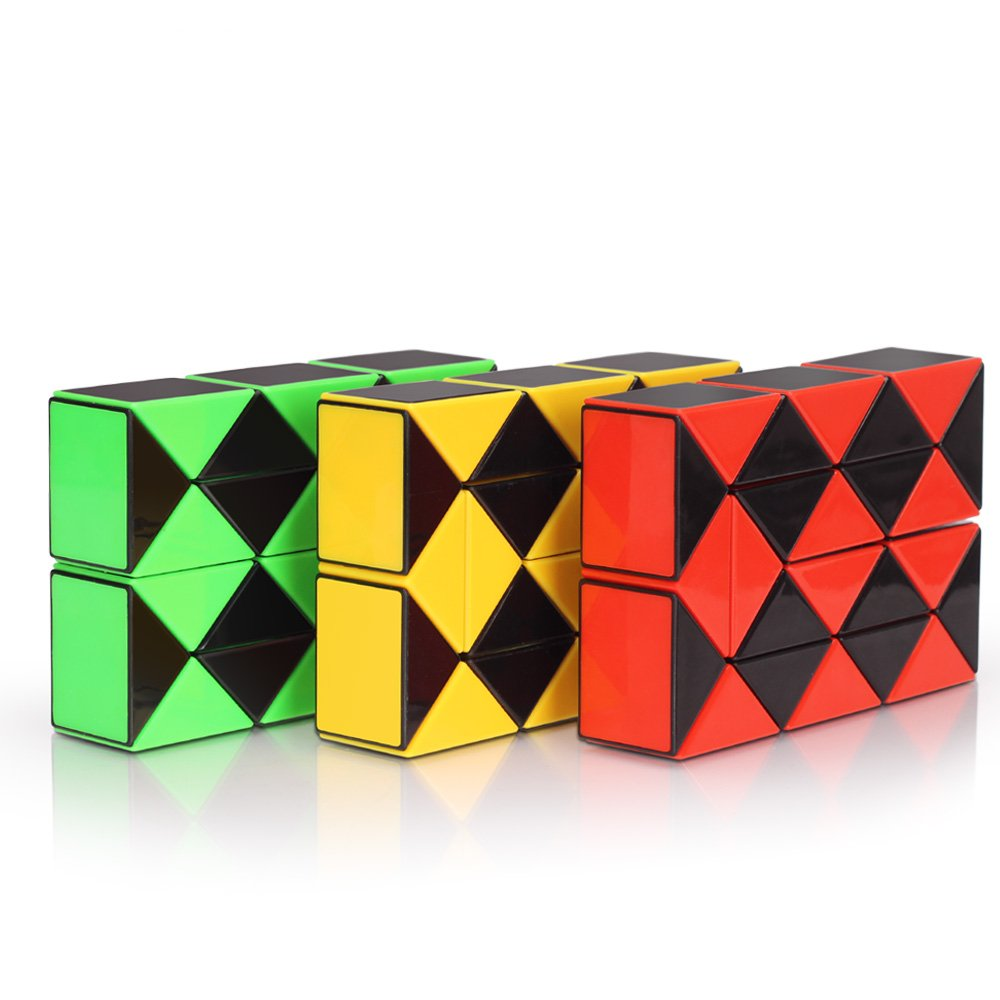 Speed Cube Snake Ruler Cube Puzzle Pack | 24 Wedges Twist Puzzle Toys | 3 Magic Snake Cubes Collection in 1 Box | Stickerless Cube Toys