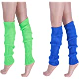 """CHUNG Adult Women Juniors Knitted Leg Warmers 16.5"""" Neon Party Accessory"""