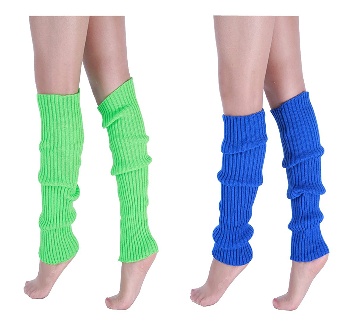 CHUNG Adult Women Juniors Knitted Leg Warmers 16.5 Neon Party Accessory 2pk Blue+Green YHJ-80s-2pk-BlueGreen