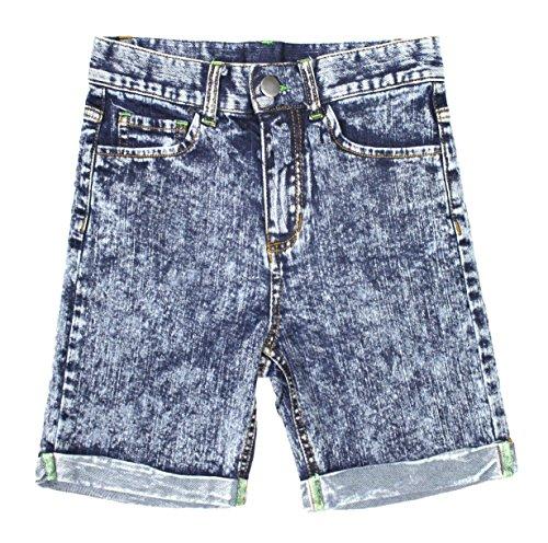 Bienzoe Girl's Denim High Waist Rolled Hem Stretchy Navy Jeans Shorts Lt Blue Size - Old 7 Navy Shorts