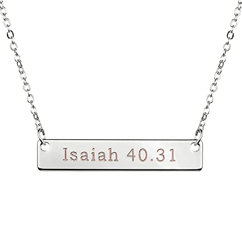 Amazon silver christian necklace bar necklace bible verse silver christian necklace bar necklace bible verse necklace faith necklace sister necklace baptism gift birthday gift negle Gallery