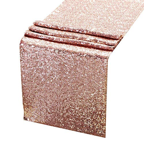 ACRABROS Sequin Table Runners Rose Gold- 12 X 108 Inch Glitter Rose Gold Table Runner-Rose Gold Party Supplies Fabric Decorations for Wedding Birthday Baby Shower]()