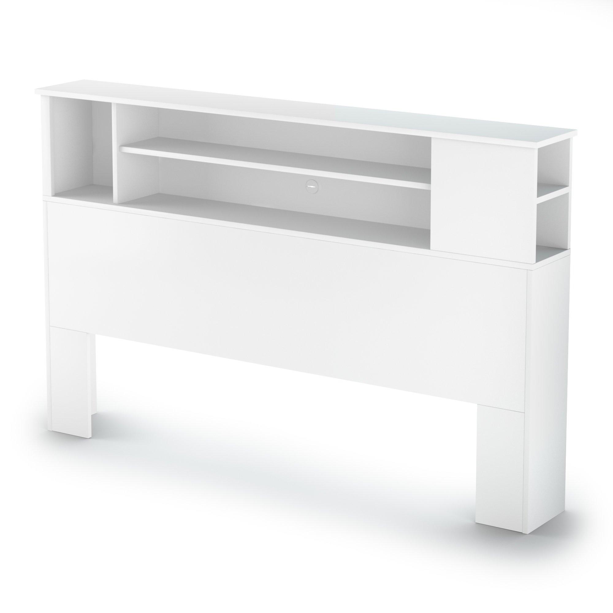 South Shore Vito Bookcase Headboard with Storage, Full/Queen 54/60-inch, Pure White