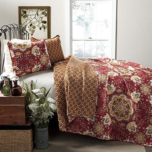 Lush Decor Addington 3-Piece Quilt Set, King, Red by Lush Decor