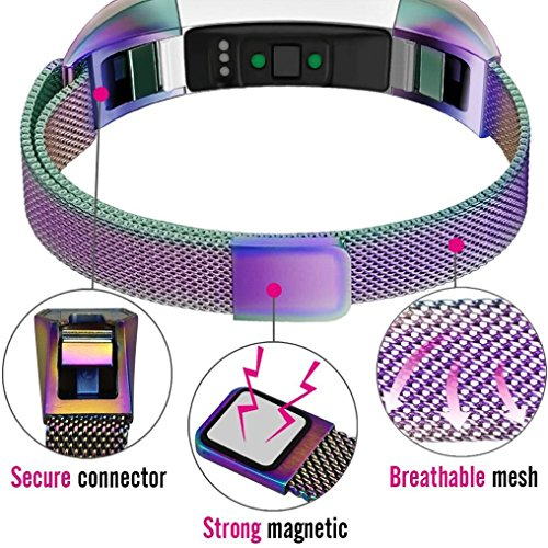 HP95(TM) For Fitbit Alta HR Bands, Replacement Milanese Magnetic Steel Watch Band For Fitbit Alta HR (Multicolor) by HP95(TM) (Image #2)