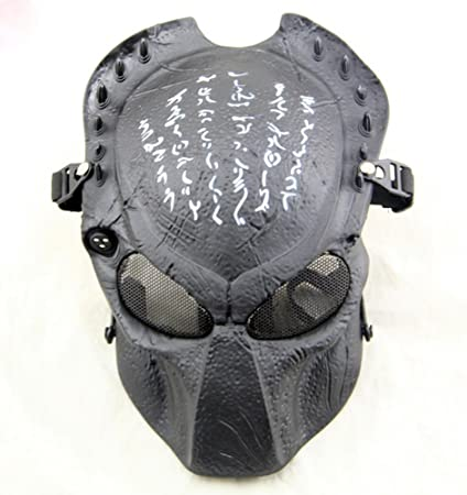 Gmasking Predator AVP Airsoft Protection Paintball Mask (Black)+Gmask Keychain