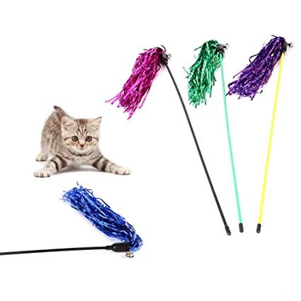 Amazon.com: Pet Cat Teaser rod Reflective Strips Cat feather wand toy Cat Catcher Teaser Stick Cat interactive toys kitten training gatos: Everything Else