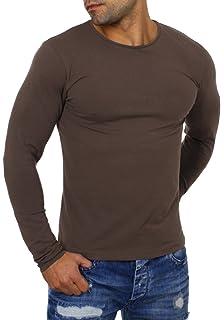 8edb240825ee Young Rich Herren Longsleeve Rundhals Ausschnitt Langarm Shirt Einfarbig  Slimfit mit Stretchanteilen Uni Basic Round-Neck