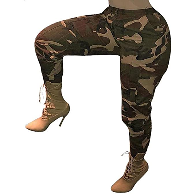 32d4686b23b99a Luca Womens Camouflage Pants Fit Casual Cargo Joggers Bandage Hip Hop Rock  Trousers at Amazon Women's Clothing store: