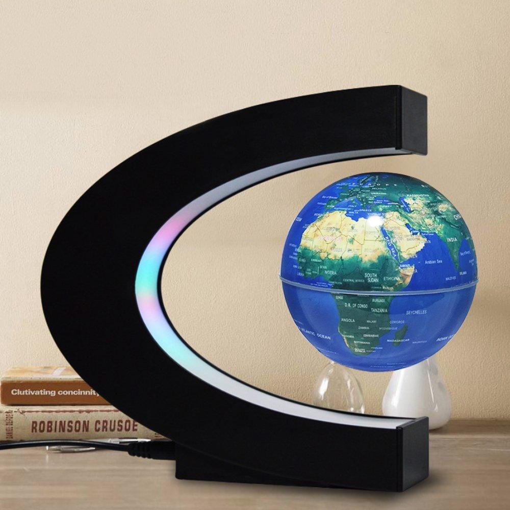 FU ZHOU Floating Globe Colored LED Lights C Shape Anti Gravity Magnetic Levitation Rotating World Map Children Gift Home Office Desk Decoration (Blue)