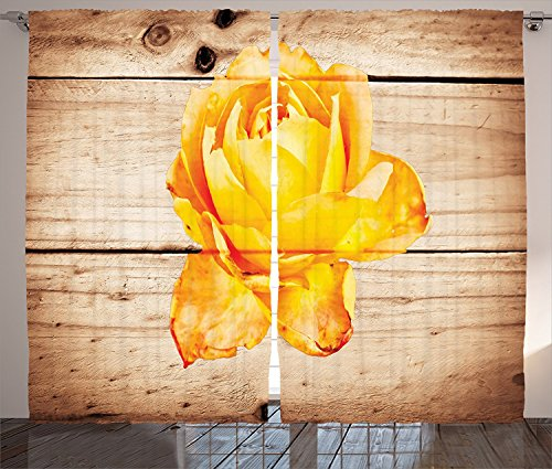 Cheap Rustic Home Decor Curtains Rose Flower with Petals Floral Beauty Fragrance Elegance Romance Theme Living Room Bedroom Window Drapes 2 Panel Set Orange Yellow