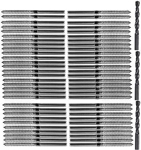 Naliovker T316 Acero Inoxidable Roscado Derecha Izquierda Roscado Tornillos FijacióN para Poste Madera 1/8Pulgadas Kit Barandilla Cable Cubierta/Cubierta Escalera,Kit Balaustre Madera Diy