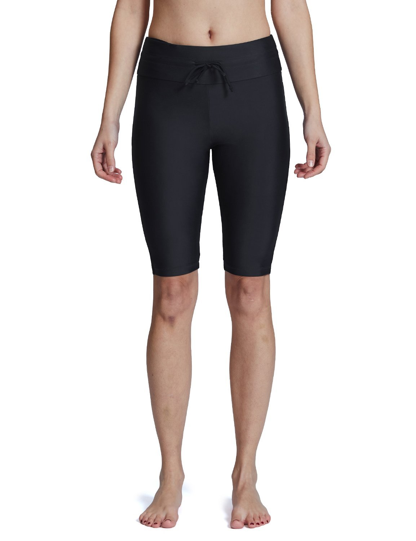 Baleaf Women's Long Board Shorts High Waisted Swim Shorts Sun Protection Bikini Bottom Black Size XL by Baleaf (Image #2)