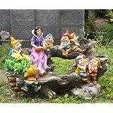 Statuette da giardino motivo Biancaneve e i 7 nani, 32 cm di altezza, decorazione da giardino in veri design