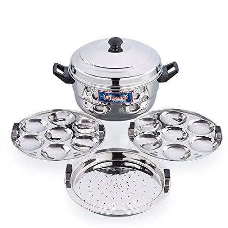 Expresso Stainless Steel Induction Base Standard Idly Cooker Patra w/Plain Bottom  2 Plates / 14 Idlis, 1 Steamer  Pots   Pans
