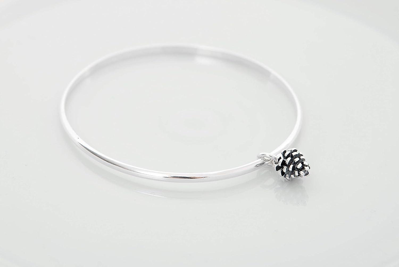 Sterling silver bangle pinecone bangle bracelet