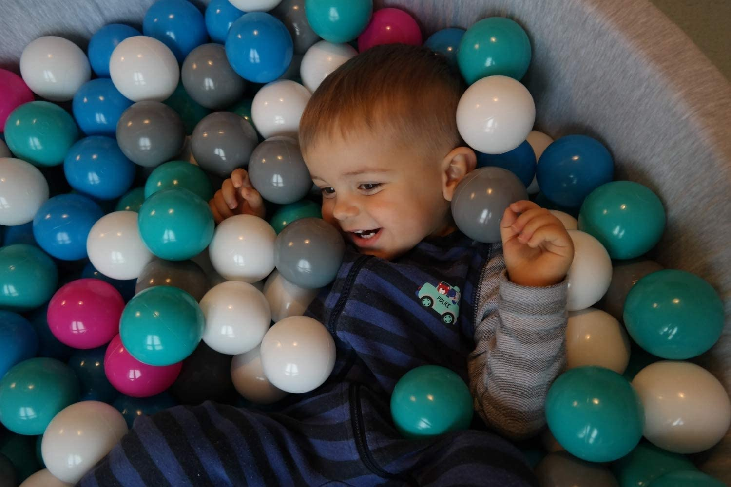 Velinda Soft Jersey Baby Kids Children Ball Pit with 150 balls, Gift (Balls colours: white,light pink,grey) Pearl, Silver, Light Blue