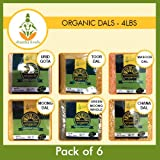 Shastha Organic Dal (Combo Pack of 6) Chana, Toor, Moong, Green Moong Whole, Urid Gota & Masoor Dals ( Each dals 1 Pkt) - USDA Certified Organic