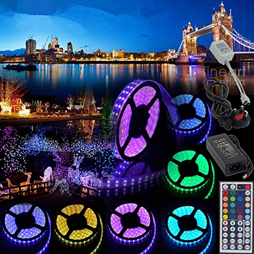 TWOPAGES 10M 12V Flexible Color Changing LED Strip Lights 32.8Ft SMD5050 RGB With 44key LED Controller and 12V5A Power Adapter Non-Waterproof for Party Wedding Home Decoration - Led Color Changing Panel