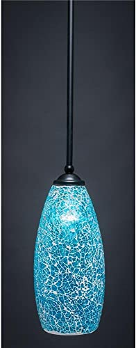 5.5 in. Mini Pendant with Turquoise Fusion Glass Shade