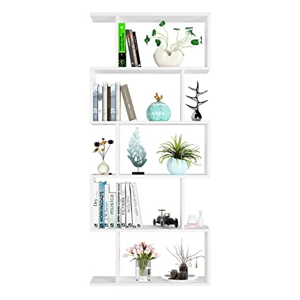info for e53f5 94e98 Homfa White Bookcase Bookshelf 5 Tier Shelving Unit Display Shelf Free  Standing Shelves for Living Room
