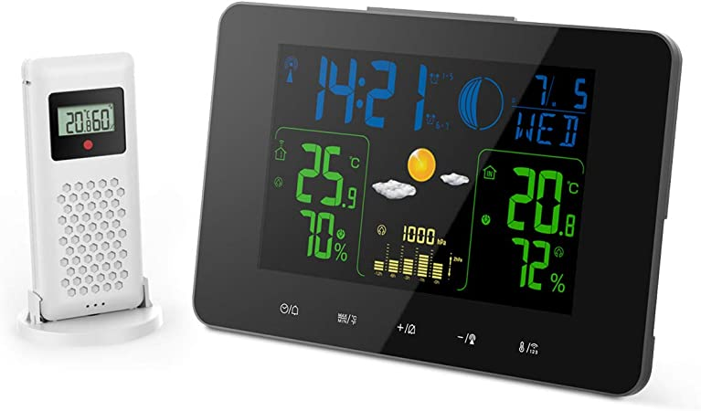 Wireless Weather Station Digital Thermometer Sensor Projector Forecast Barometer