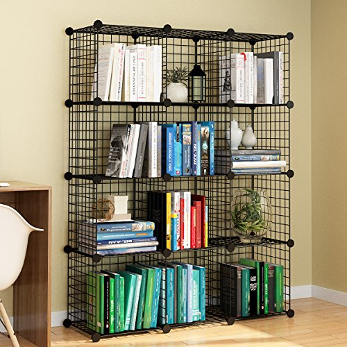 KOUSI Wire Cube Storage Origami Shelves Metal Grid MultiFuncation Shelving Unit Modular Cubbies Organizer Bookcase - 12 Cubes