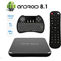 SINUK H96 MAX Android 8.1 TV Box 4G + 64G Amlogic S905 X2 Quad Core Arm Cortex A53 Smart Set-Top Box, Support 2.4G / 5.8G Dual WiFi /3D/4k/USB3.0 / Teclado retroiluminado inalámbrico