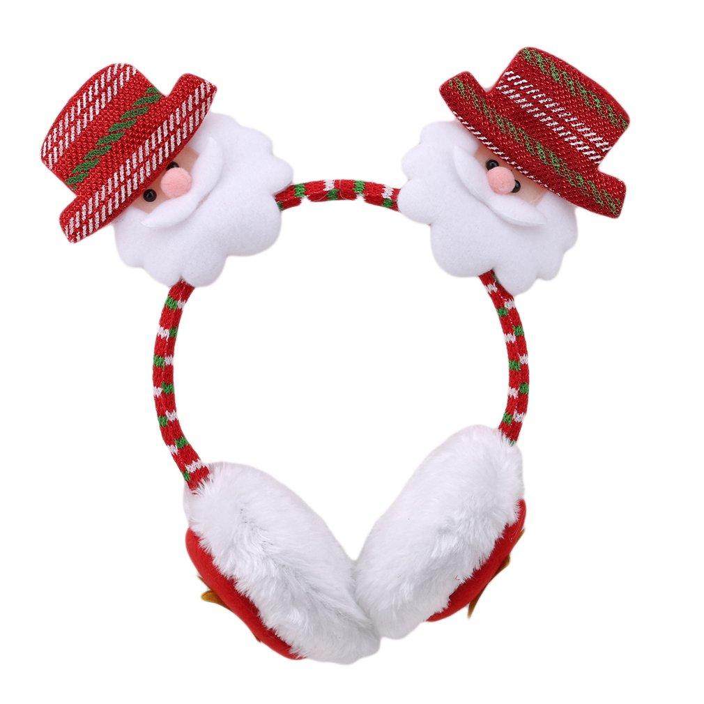 Eleusine Cute Winter Outdoor Warm Plush Christmas Headband with Earmuff Xmas Party Dress Up