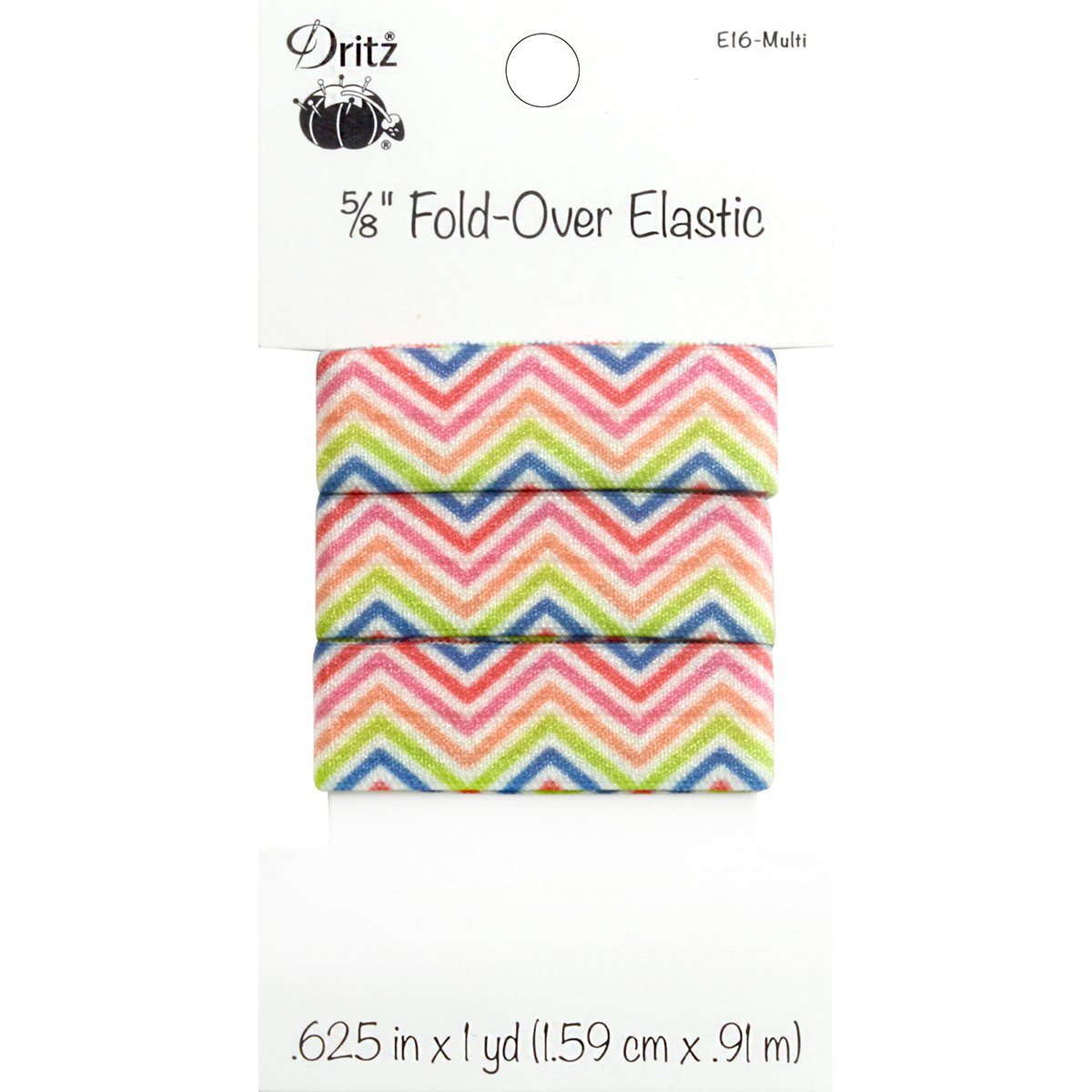 Dritz Chevron Fold-Over Elastic, 5/8 by 1 yd, Multicolor by Dritz