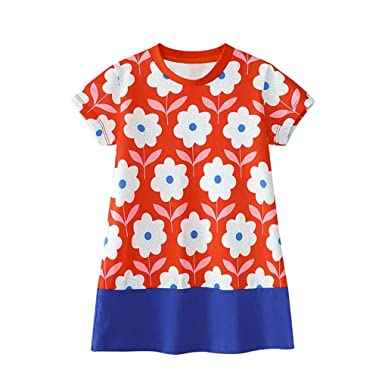 755f1b62d5511 Goodlock Toddler Kids Fashion Dress Baby Girl Floral Pattern Dress Outfit  Clothes (Red, Size
