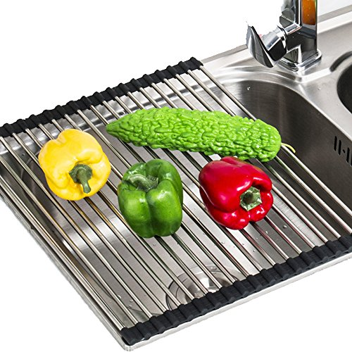 Roll Up Dish Drying Rack Over Sink,Stainless Steel Dishes Dr
