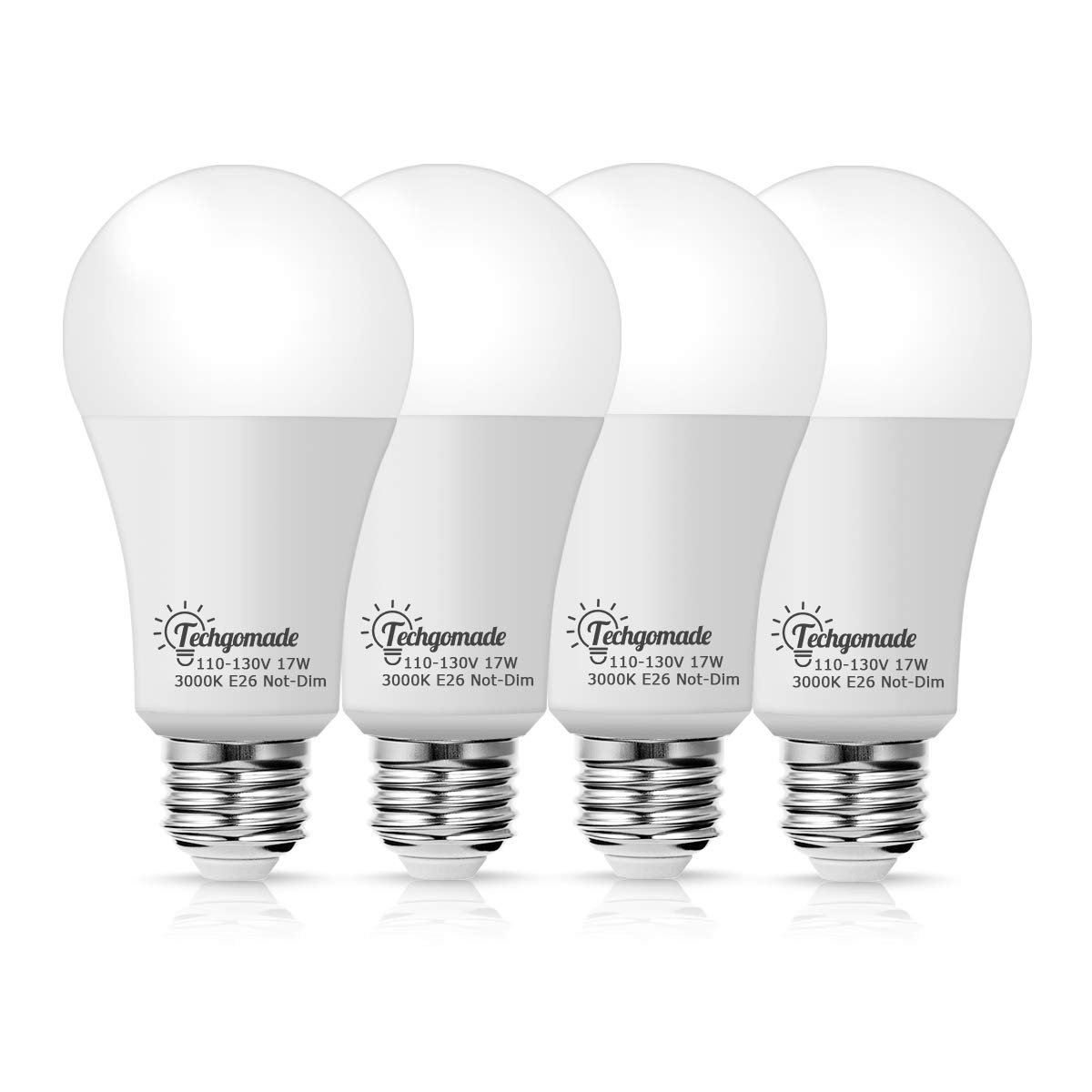 Techgomade 17W A19 LED Light Bulb, 200W Incandescent Bulb Equivalent, 1600LM High Brightness, Soft White 3000K, for Home or Outdoor Lighting, Porch, Hallway, Not-Dimmable LED, 4 Pack