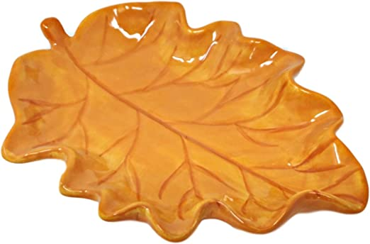 Colorful Maple Leaf Fall Halloween Thanksgiving Serving Platter 8 Inches Ceramic