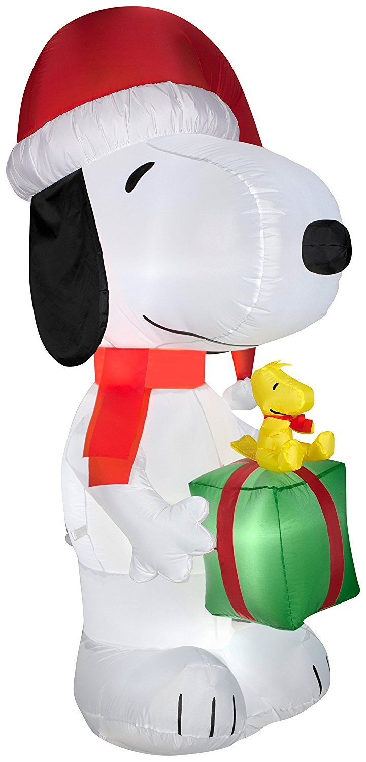 Gemmy Airblown Inflatable Snoopy Wearing a Santa Hat Holding a Present with Woodstock on it - Indoor Outdoor Holiday Decoration, 5.5-foot Tall
