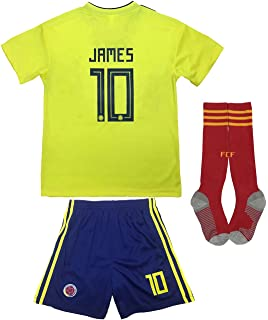 bfafeb34b KID BOX Colombia 2018 James Rodriguez  10 Home Soccer Kids Jersey   Short  Set Youth