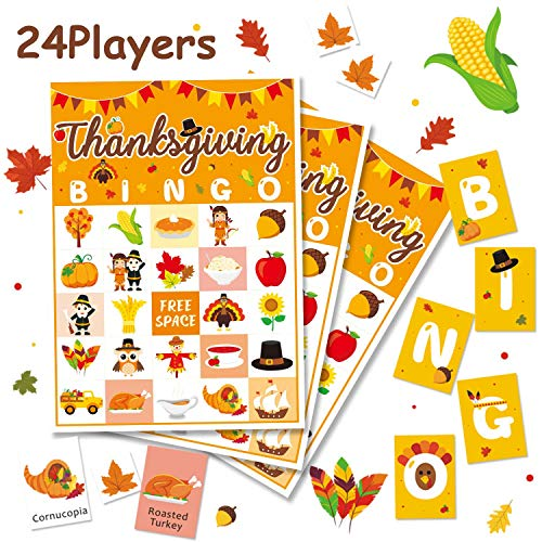 Fun Family Halloween Activities (Levfla Thanksgiving Bingo Game Kids Fall Family Reunion Craft Fun Dinner Table Activity Holiday Party Bash Ideas for 24 Players No DIY)