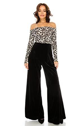 74f71c80a7a Amazon.com  Women s Sexy Long Sleeve Flocking Floral Printed Mesh Top with  Velvet Jumpsuit Palazzo Pants  Clothing