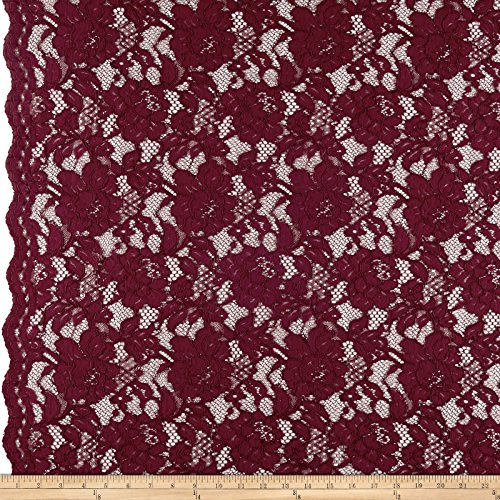 Ben Textiles Heavy Corded Chantilly Lace Burgundy Fabric by The Yard