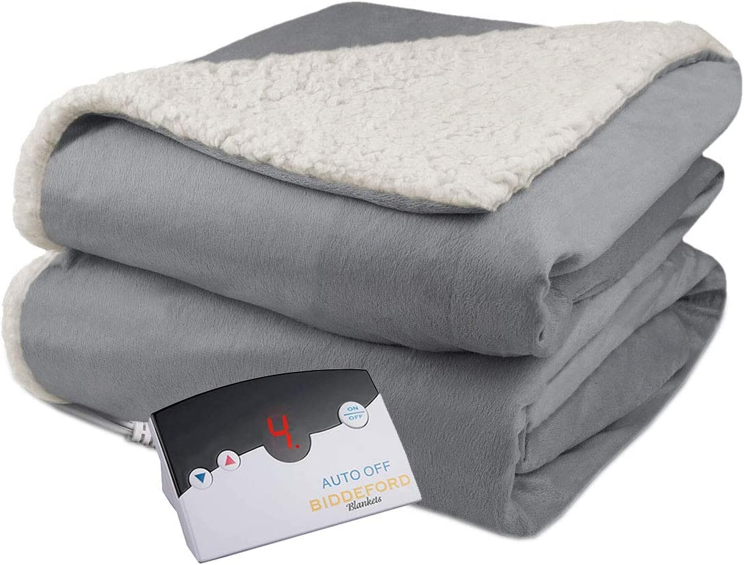 Biddeford Velour Sherpa Electric Heated Warming Blanket Full Gray Washable Auto Shut Off 10 Heat Settings