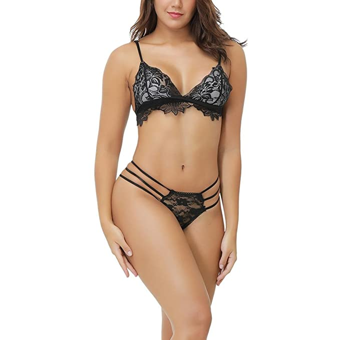 28e28b3e2 Amazon.com  Ruhiku GW Women s Lingerie Sheer Sexy Bra and Panty Set ...