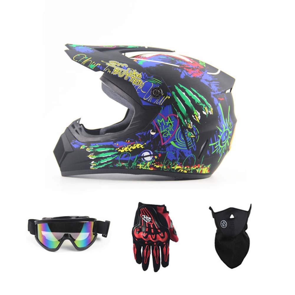 MRXUE Off-Road Anti-Collision Motorbike Helmet Warm, Full Face Helmet Off-Road Anti-Collision Helmet Kit Adult Highway Helmet Give Goggles Bicycle Gloves Dust Mask Graffiti,M(55~56Cm)
